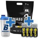 FA Nutrition Core MassCore - 7kg + FA Nutrition Xtreme Napalm Shot (60ml) 4szt + Shaker Bodypak