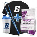 Trec Whey 100 - 2275g + BODYPAK - T-Shirt BODYPAK czarny + Shaker Bodypak + Smycz Bodypak