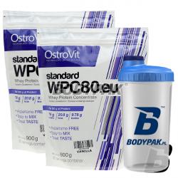 2x Ostrovit WPC 80.eu - 900g + BODYPAK Shaker  - 700ml